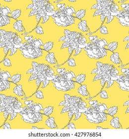 Hibiscus seamless pattern. Roses pattern. Hibiscus blooming branch on a yellow background. Hibiscus, roses vector illustration. Chinoiserie. All over print.