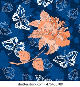 Hibiscus seamless pattern. Roses pattern. Butterflies and  hibiscus blooming branch on a navy blue background. Butterfly and roses vector illustration. Chinoiserie. All over print.
