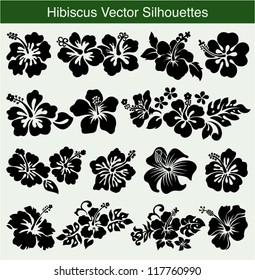 Hibiscus silhouettes vector set