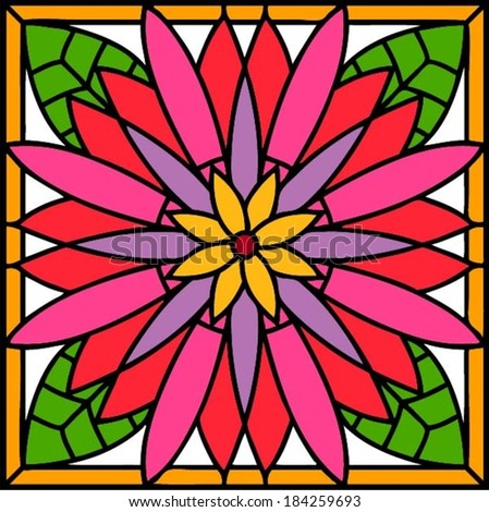 Hibiscus Stained Glass Windows Style Vector Stock Vector Royalty