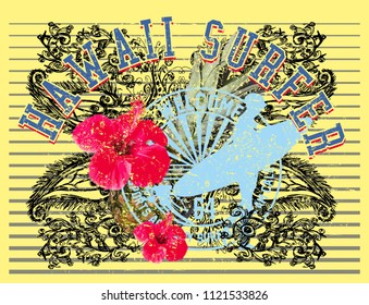 Hibiscus and surfer graphic design vector art