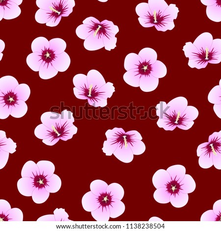 Hibiscus Syriacus Rose Sharon On Red Stock Vector Royalty Free
