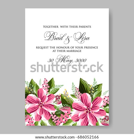 Hibiscus Tropical Floral Wedding Invitation Template Stock Vector