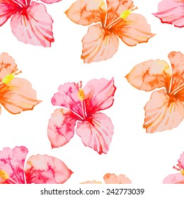Hibiscus. Tropical plants seamless pattern. Exotic flower. Vector. Watercolor.