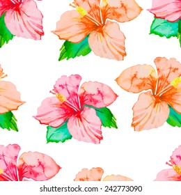 Hibiscus. Tropical plants seamless pattern. Exotic flower. Vector. Watercolor. Foliage.