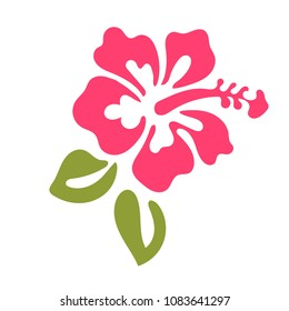 Hibiscus vector graphic. Hibiscus flower logo isolated on white background.