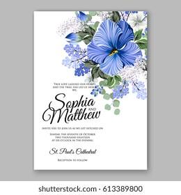 Hibiscus wedding invitation card printable template with greenery eucaliptus blue flower