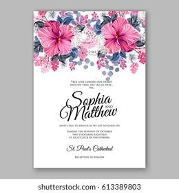 Hibiscus wedding invitation card printable template with greenery eucaliptus magenta flower