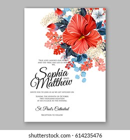 Hibiscus wedding invitation card printable template with greenery eucaliptus red blue flower