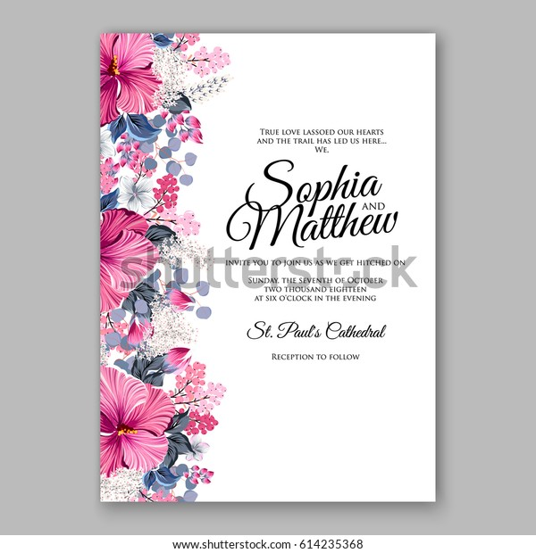 image relating to Wedding Cards Printable identified as Hibiscus Wedding ceremony Invitation Card Printable Template Inventory