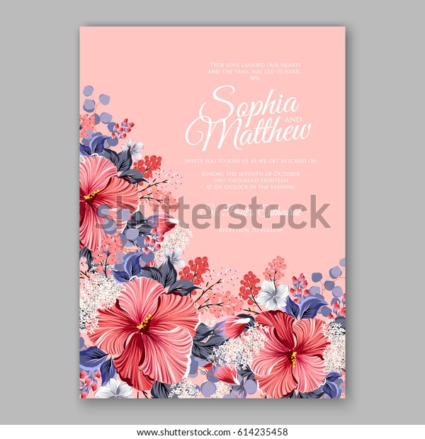 Hibiscus Wedding Invitation Card Printable Template Stock