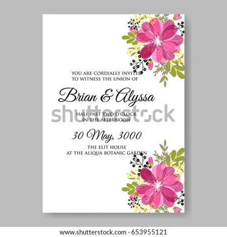 Hibiscus Wedding Invitation Template Vector Floral Stock