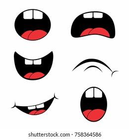 Hick Cartoon Mouth Set Vector