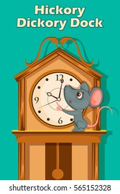 Hickory Dickory Dock, Kids English Nursery Rhymes book illustration in vector