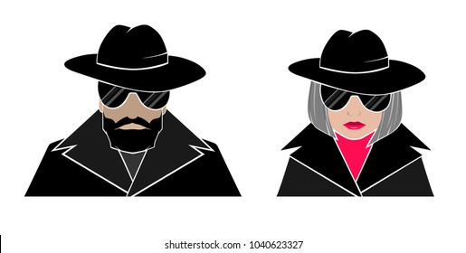Hidden avatar anonymous-man and woman in black, glasses, hats, Cape with raised collar