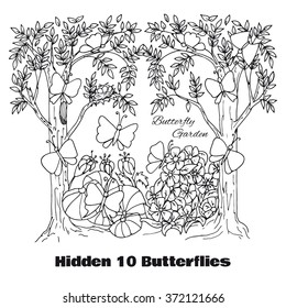 Hidden objects location. Find objects vector illustration. Coloring page and game location. Hand drawn inky Butterfly Garden coloring page. Outline butterfly, tree, flowers. Wall sticker design