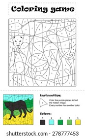 Hidden picture - Coloring Page, big wild cat. Layout with instruction and answer key