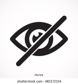 Hide icon eye. Picture, Image, Logo, Sign, Design, Flat, App, Web, Art, Vector, Solid Style