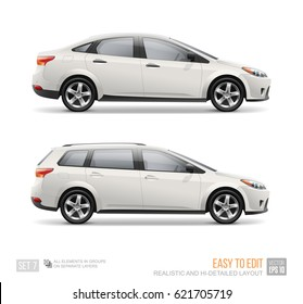 Hi-detailed Blank White Passenger Car Business Sedan and Station Wagon Car - isolated on white background. Passenger City transport blank surface for corporate brand identity and advertising design