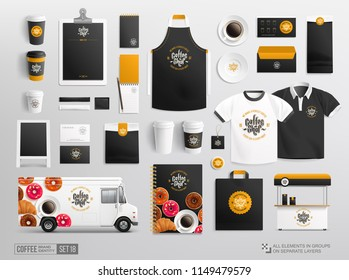 Hi-detailed Brand Identity Mockup set for Coffee Shop and Bakery. Restaurant Mock-Up set of food truck, uniform, cup, paper pack, bag. Fast food rastaurant and bakery package, stationery elements