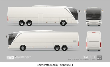 Hi-detailed Coach Promo Bus blank MockUp Template isolated on grey background. Advertising Bus Mockup for Corporate Brand identity design. Front and back view Future Bus Mockup template. Easy to edit