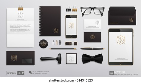 Hi-detailed Corporate Brand Identity Mockup set. Business Stationery mockup logo template. Personal Branding mock-up of tablet,  phone, notebook, envelope, business card, stamp. Isolated vector