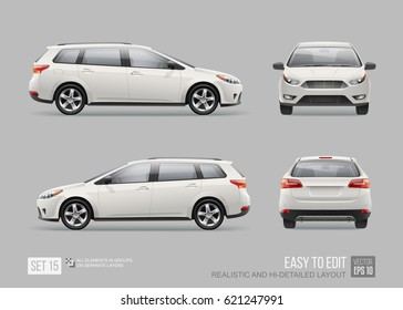 Hi-detailed Passenger Station Wagon Car - Mock Up template isolated from grey. Car Mockup for corporate brand identity and advertising on transport. Front and back view white car. Corporate Vehicle