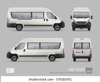 Hi-detailed Passenger Van Mini Bus vector template for Mockup Advertising and Corporate identity on transport. Easy to edit layout  Realistic Passenger Car Isolated on grey background