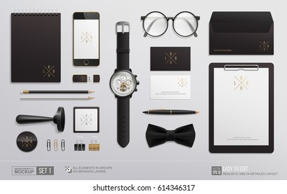 Hi-detailed Stationery Mockup set for Corporate Brand Identity design. Realistic stationery mockup logo template. Personal Branding mockup of watch, notebook, envelope, glasses, stamp, business card