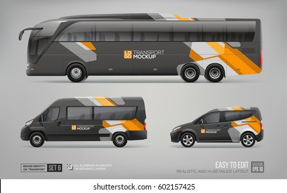 Hi-detailed Transport Mockup of Black Coach Bus, Passenger Van and Commercial Car isolated on grey. Abstract graphic elements for Corporate identity and Advertising. Isolated black vehicle template