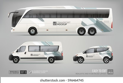 Hi-detailed Transport Mockup of Coach Bus, Passenger Van and Commercial Car isolated on grey. Abstract graphic elements for Brand identity and Advertising. Set of Passenger transport. Branding mockup