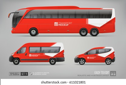 Hi-detailed Transport Mockup of Red Coach Bus, Passenger Van, freight Car isolated on grey. Red Abstract graphic elements for Brand identity and Advertising. Set of Passenger transport Mock Up