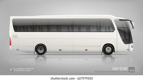 Hi-detailed Vector Coach City Bus - Mockup template isolated on grey background. City Bus blank template for brand identity and advertising on transport. Passenger travel bus side view mockup