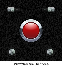Hi-End UI Analog Red Button Chrome On Leather Background. Metal Button, Switchers, On, Off. Web Design Elements. Software Controls. Vector User Interface EPS10