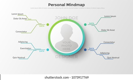 Hierarchical diagram with place for person's photo in center connected to text boxes by coloful lines. Concept of personal mind map or scheme. Flat infographic design template. Vector illustration.