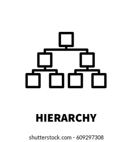 Hierarchy icon or logo in modern line style. High quality black outline pictogram for web site design and mobile apps. Vector illustration on a white background.
