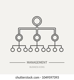 Hierarchy in management - business icon in flat thin line style. Graphic design elements for ad, apps, website,packaging, poster or brochure. Vector illustration