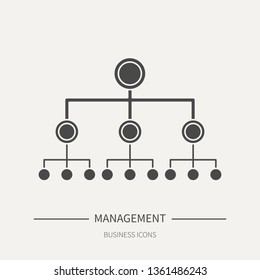 Hierarchy in management - business icon in flat style. Graphic design elements for ad, apps, website,packaging, poster or brochure. Vector illustration