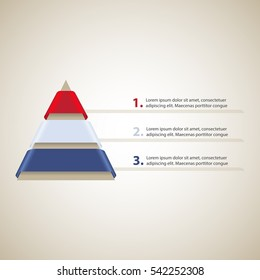 Hierarchy of Needs Pyramid. Cone with 3 ribbons. Vector Infographic