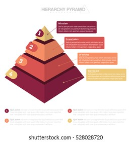 Hierarchy Pyramid Infographic 4 Stacks