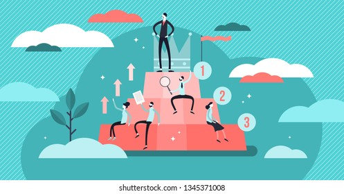 Hierarchy vector illustration. Flat tiny persons social development concept. Organization career structure from professional employee to leaders. Society arrangement system to classify success groups.