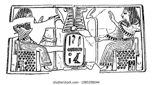 Hieroglyphic panel with a cartouchein this picture, vintage line drawing or engraving illustration.