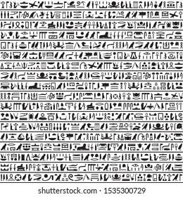 Hieroglyphs of Ancient Egypt black horizontal design.