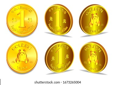 Hieroglyphs mean People's Republic of China. Yuan coin with panda, 1 ounce of fine gold. Multiple 3D projections EPS10