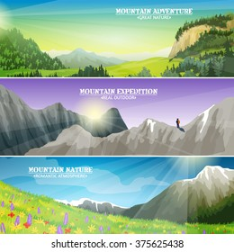 High altitude flowers on mountain slopes and ice peaks landscape 3 flat horizontal banners set abstract illustration vector