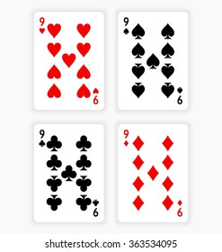 High Angle View of Four Playing Cards Spread Out on White Background Showing Nines from Each Suit - Hearts, Clubs, Spades and Diamonds