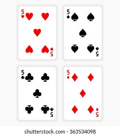 High Angle View of Four Playing Cards Spread Out on White Background Showing Fives from Each Suit - Hearts, Clubs, Spades and Diamonds