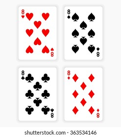 High Angle View of Four Playing Cards Spread Out on White Background Showing Eights from Each Suit - Hearts, Clubs, Spades and Diamonds