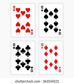 High Angle View of Four Playing Cards Spread Out on White Background Showing Tens from Each Suit - Hearts, Clubs, Spades and Diamonds