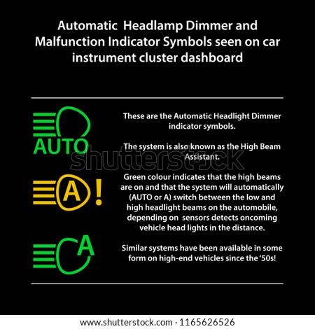 High Beam Headlamp Dimmer Malfunction Icon Stock Vector Royalty
